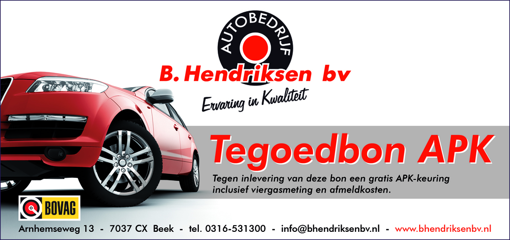 Garagebedrijf B. Hendriksen bv – tegoedbon