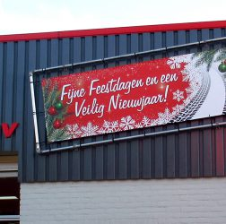 Garagebedrijf B. Hendriksen bv - spandoek Fijne Feestdagen