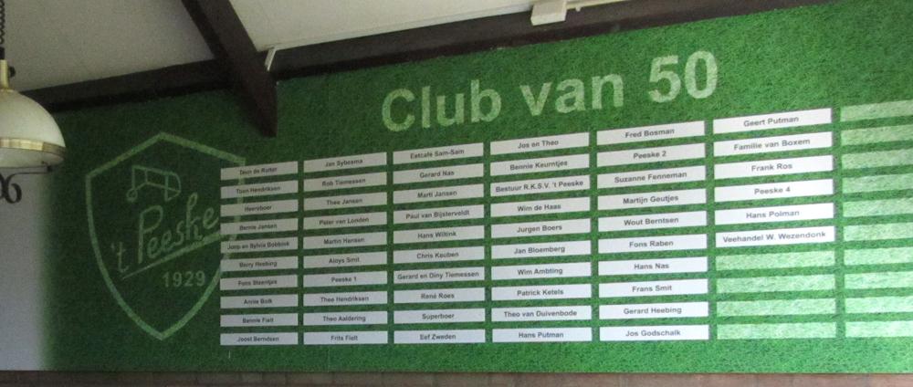 Voetbalvereniging 't Peeske – sponsorwand – Club-van-50