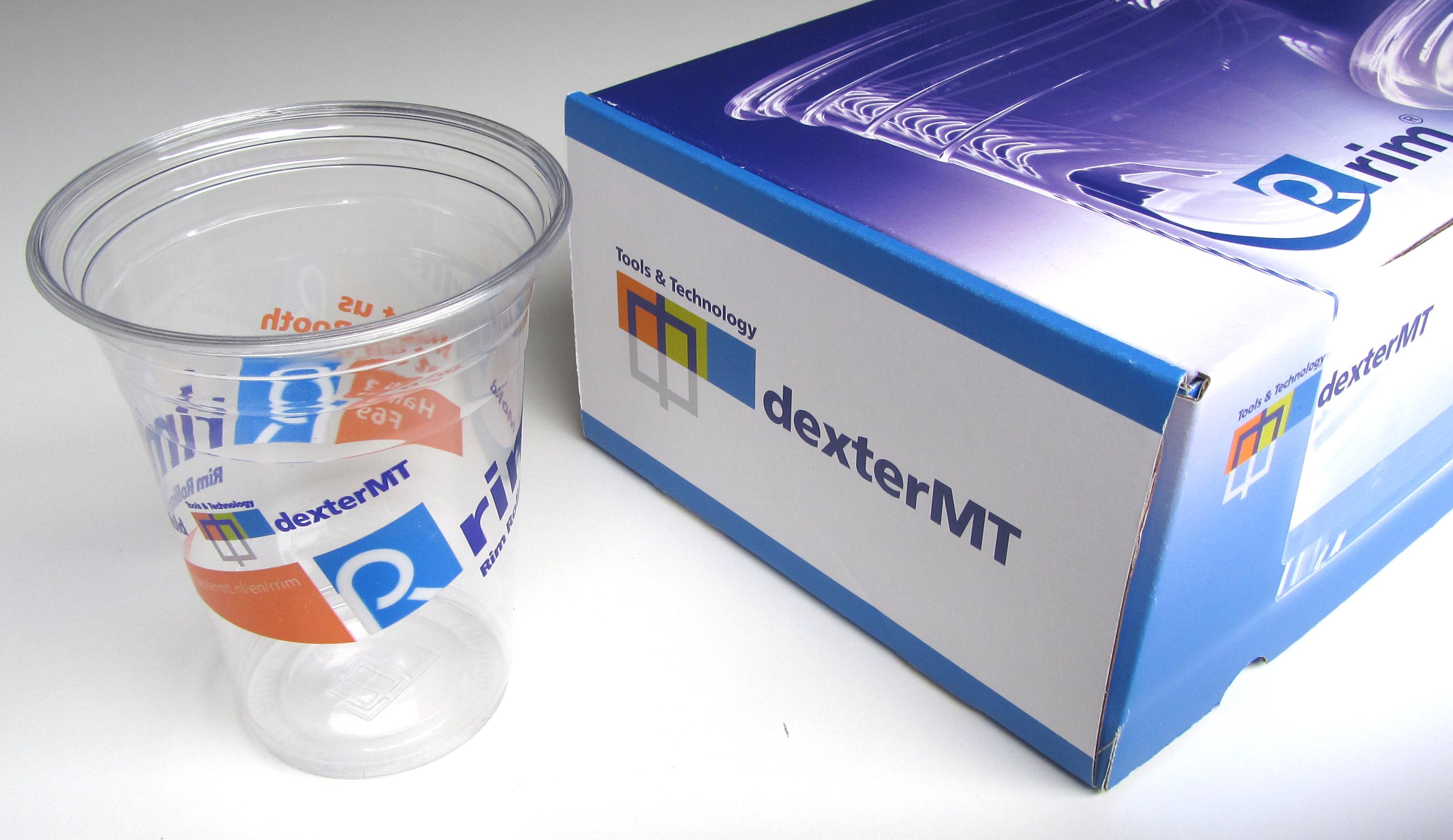 dexter MT – bedrukking Rrim-beker + verpakkingsdoos