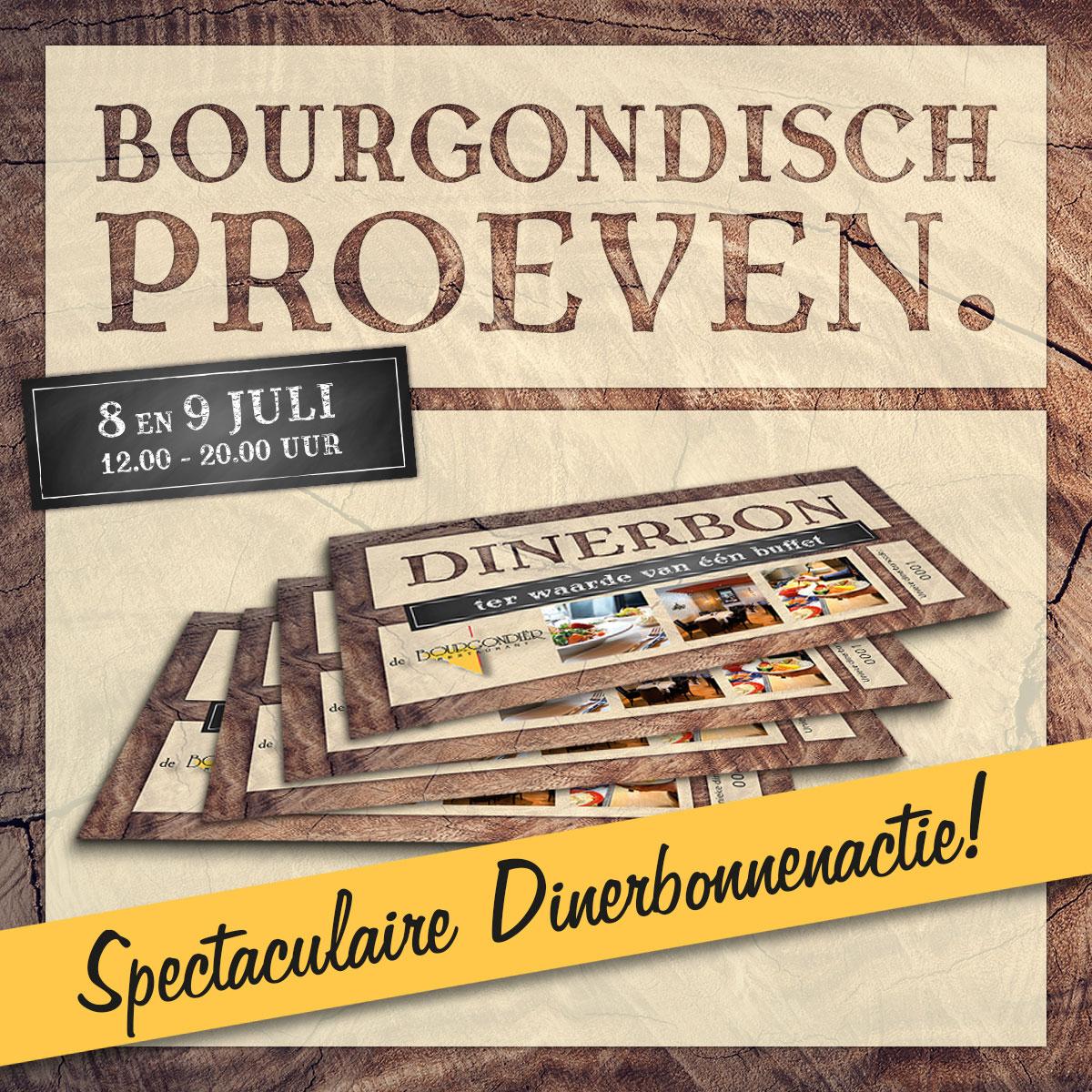 De Bourgondiër – Bourgondisch Proeven. – Facebookbericht – Spectaculaire-Dinerbonnenactie