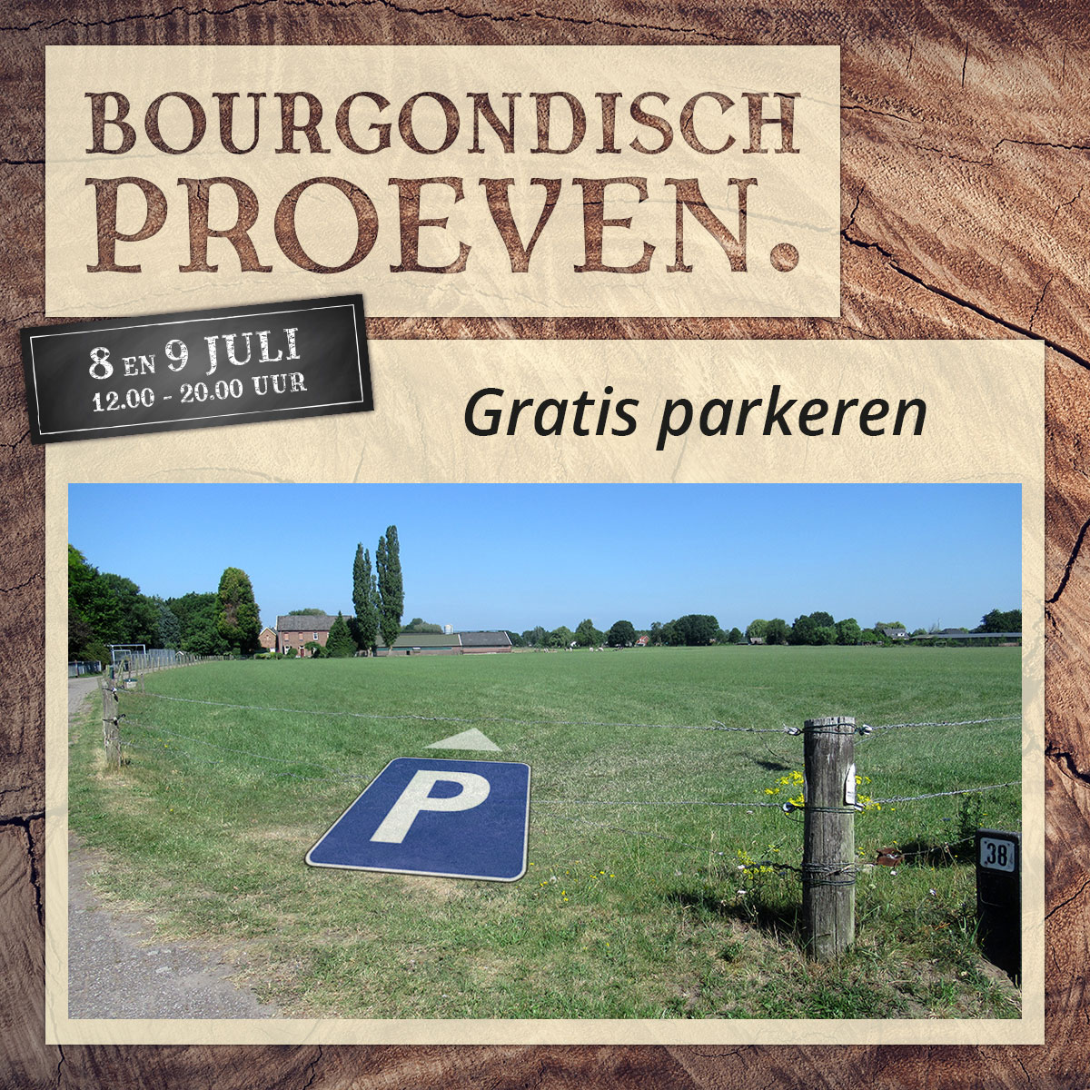 De Bourgondiër – Bourgondisch Proeven. – Facebookbericht – Gratis-parkeren