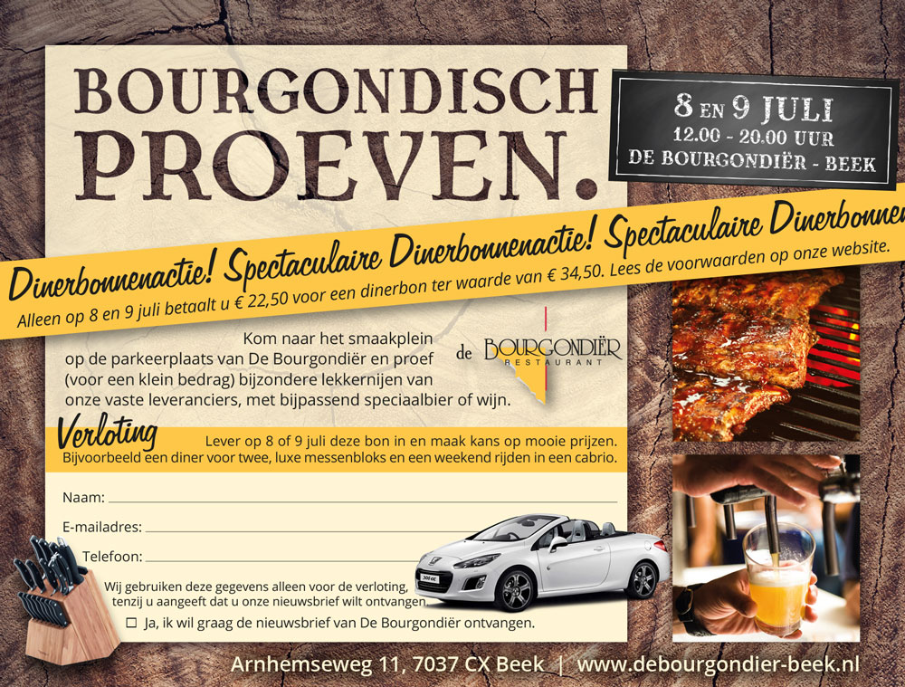 De Bourgondiër – Bourgondisch Proeven. advertentie 140x106mm