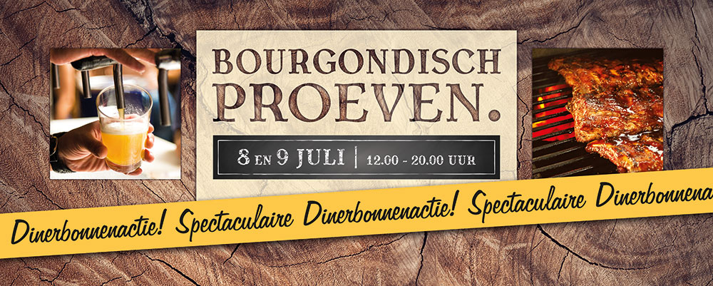De Bourgondiër – Bourgondisch Proeven. – autobelettering – 140x56cm