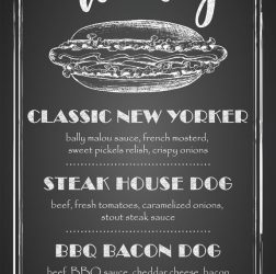 De Bourgondiër - krijtbord Hot Dogs - 70x122cm