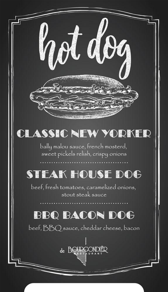 De Bourgondiër – krijtbord Hot Dogs – 70x122cm