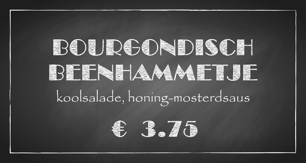 De Bourgondiër – krijtbord – prijsbordje 30x16cm – 7