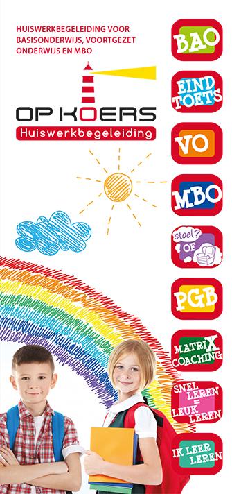 Huiswerkbegeleiding Op Koers - folder - voorzijde