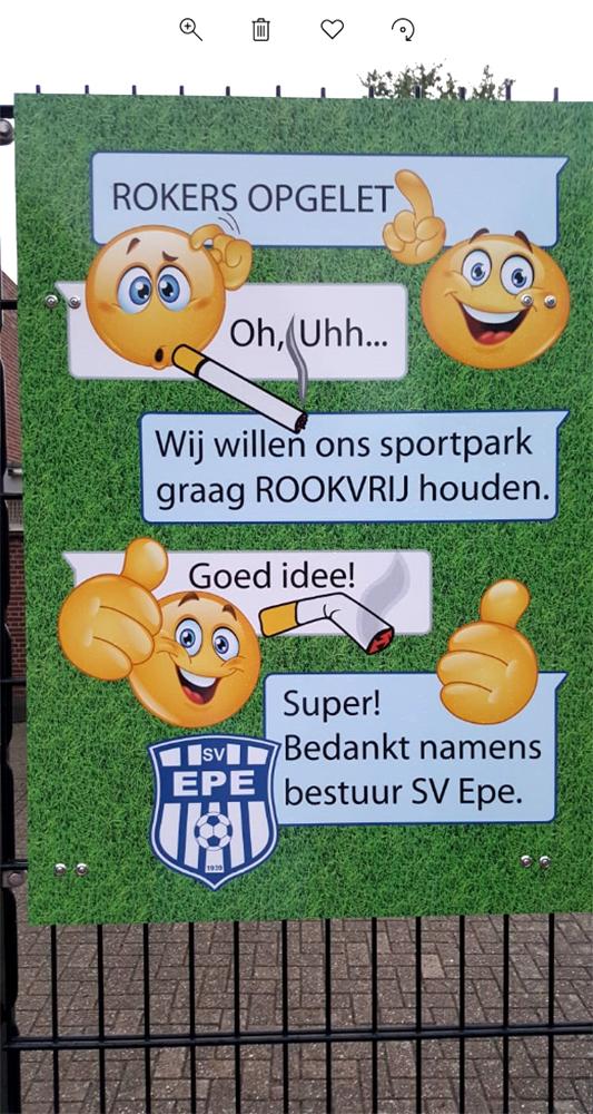 SV Epe – bord Sportpark Rookvrij